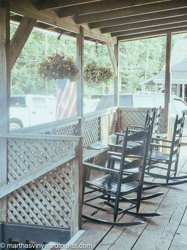rockers on the porch at Chilmark General store