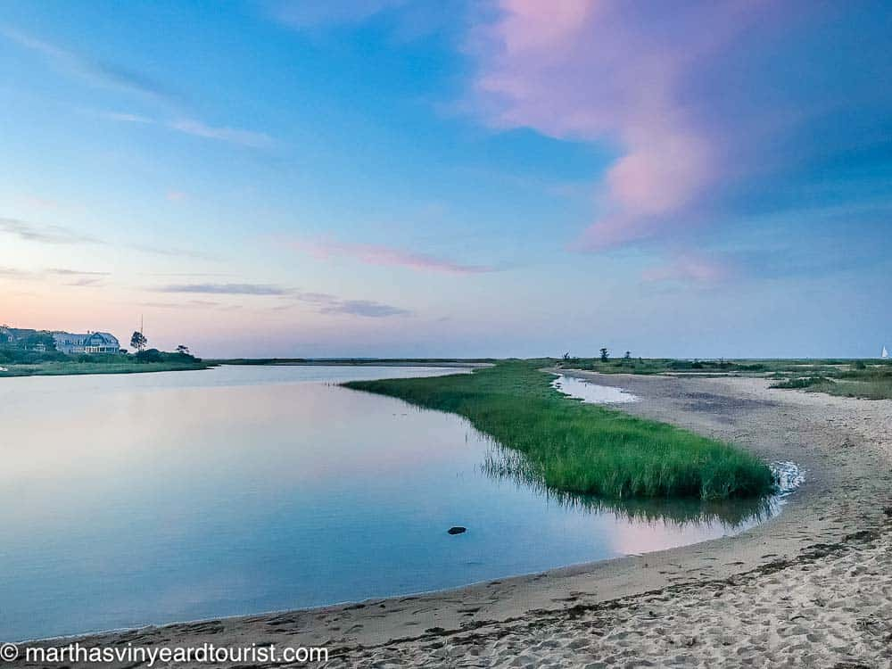 pond at sunset by Edgartown Lighthouse Beach