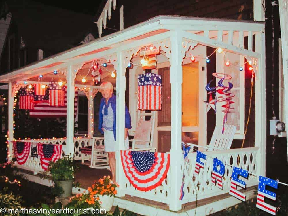 A gingerbread cottage all decorated for Illumination Night in Oak Bluffs.