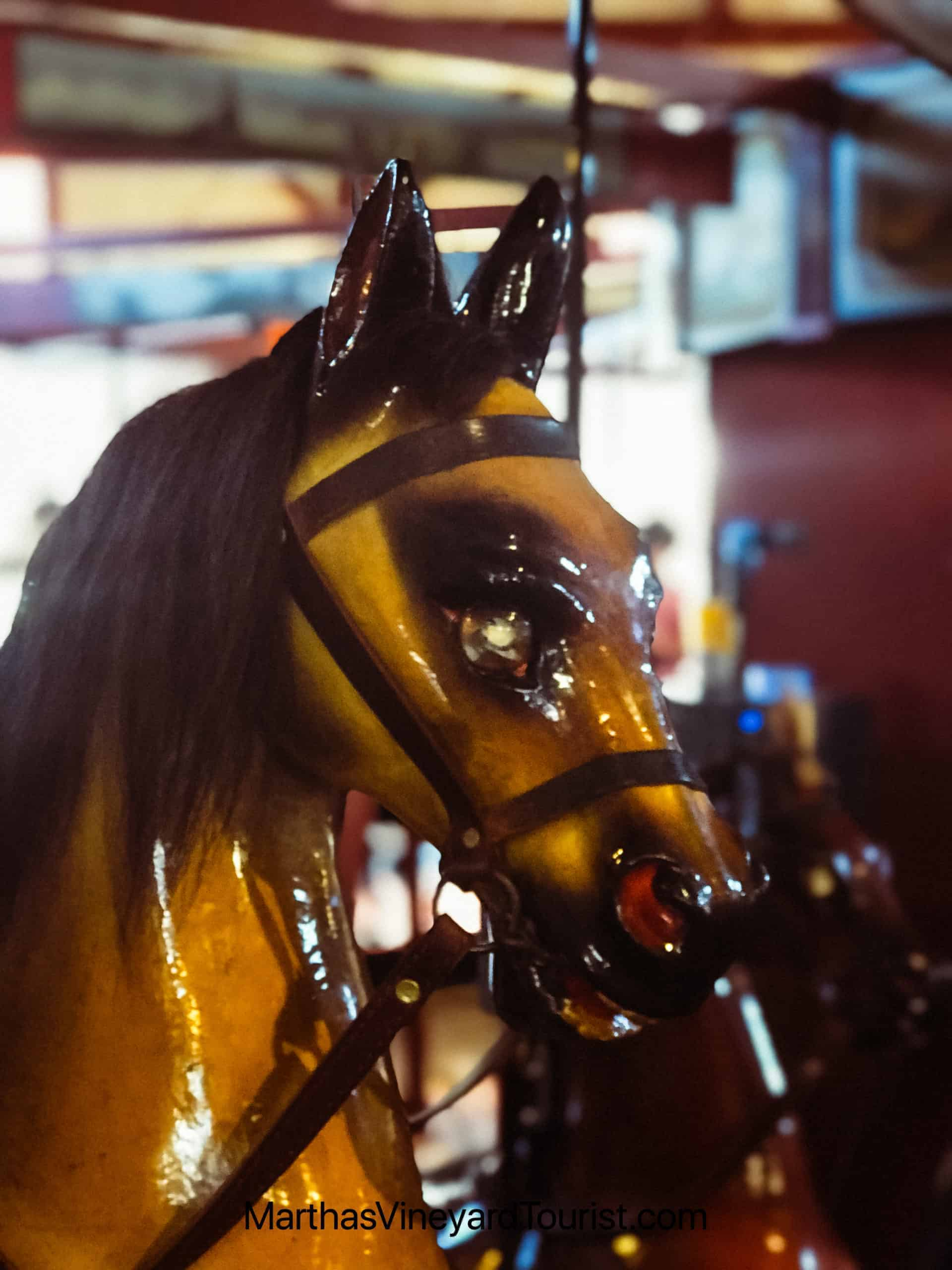 hand carved horse at the Flying horses carousel in Oak Bluffs
