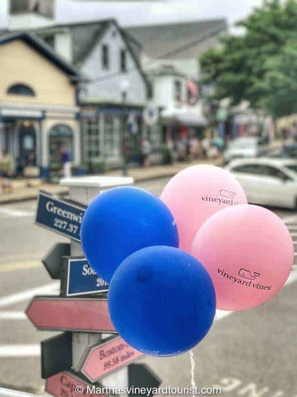 Colorful balloons on Circuit Avenue in Oak Bluffs