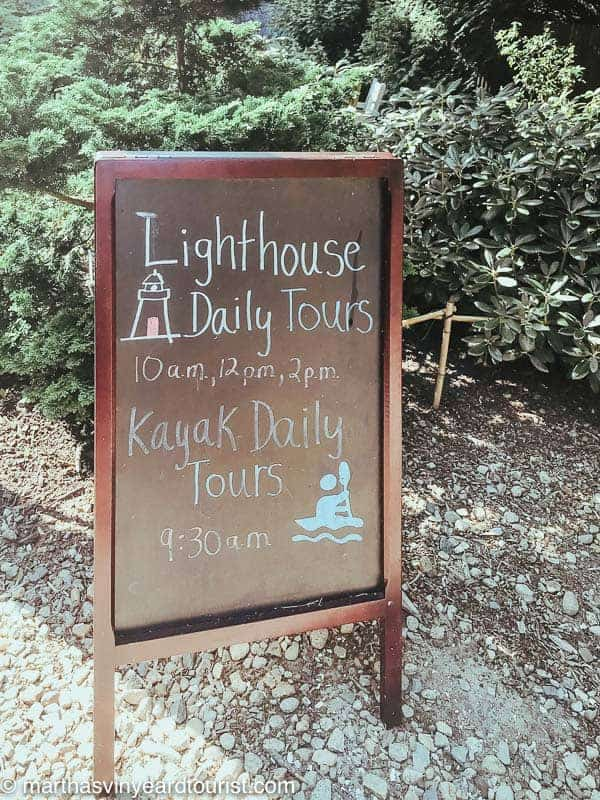 Cape Pogue lighthouse tours sign