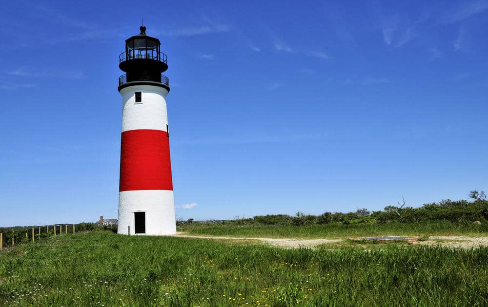 Sankaty Head Lighthouse is a brick structure built in 1850 painted white and red