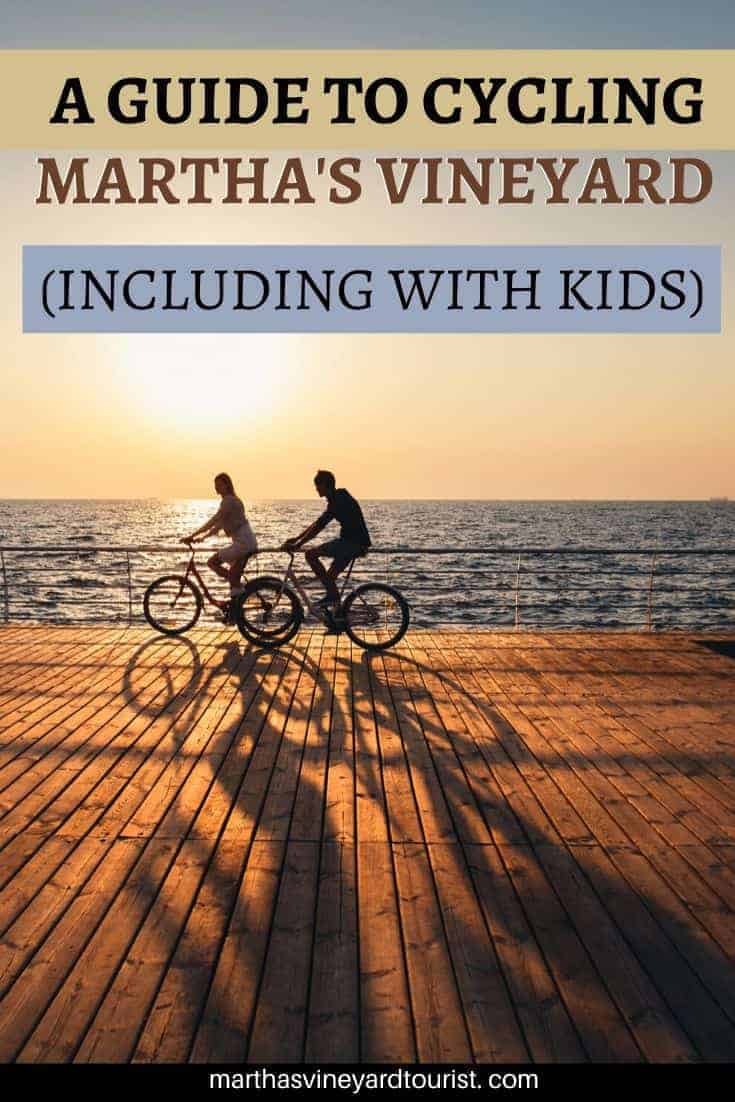 """bikes in the sunset with test saying """"A Guide To Cycling Martha's Vineyard (Including with Kids)"""""""