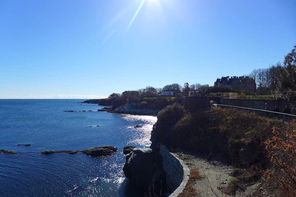 Newport Rhode Island cliff walk with views of water
