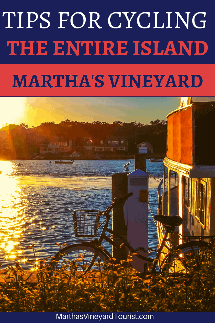 cycle in the morning sun in Martha's Vineyard with the text: Tips For Cycling The Entire Island, Marthas Vineyard