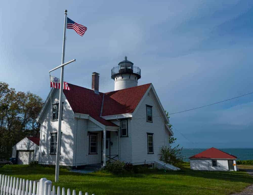 West Chop Lighthouse and American flag