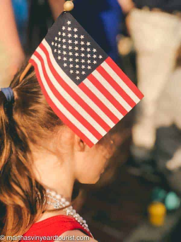 Girl with American flag in her hair