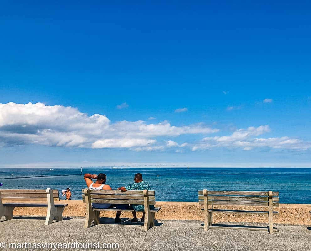 A bench in front of Inkwell Beach