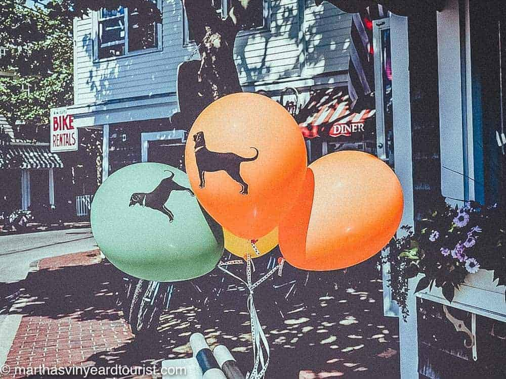 orange and green balloons with black dog printed on them on the street