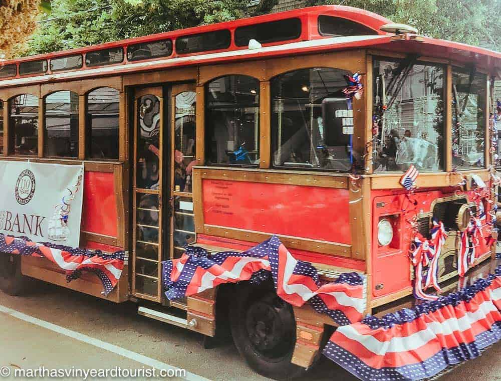 Edgartown trolley with bunting for July 4th parade