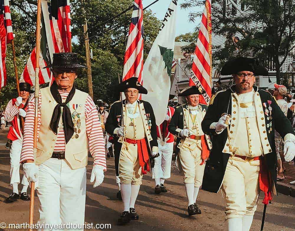 patriotic parade with American flags in Edgartown on July Fourth