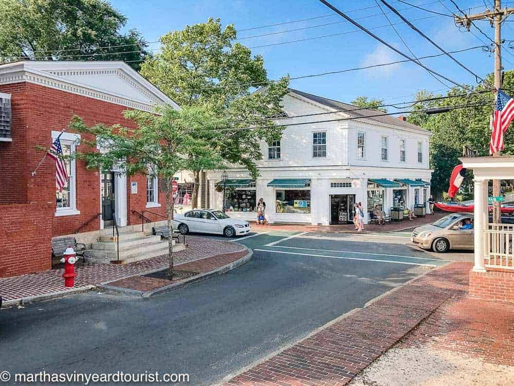 The corner of Main street in Edgartown showing the bank and the Edgartown Paper Store