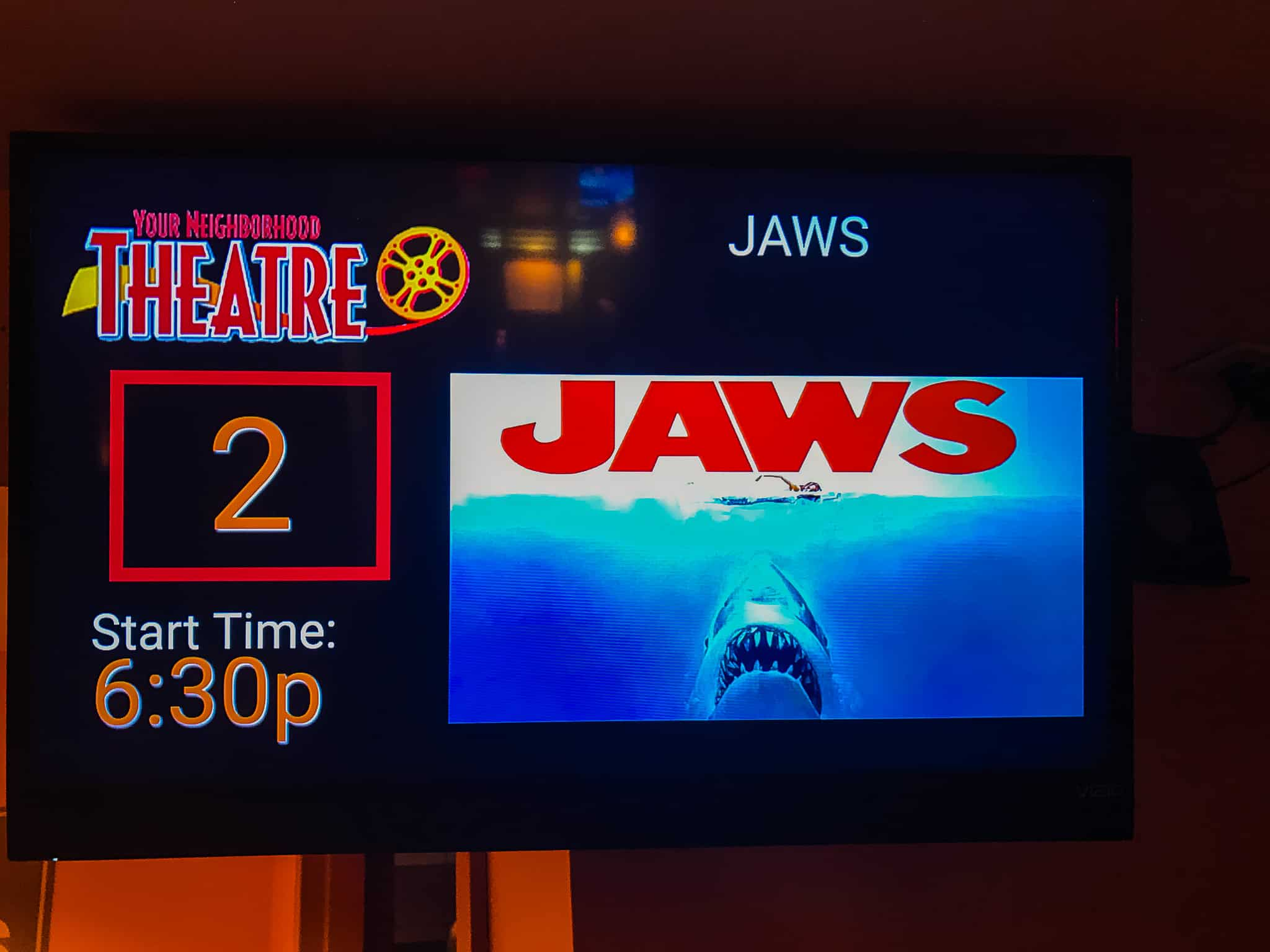 movie sign for Jaws the Movie