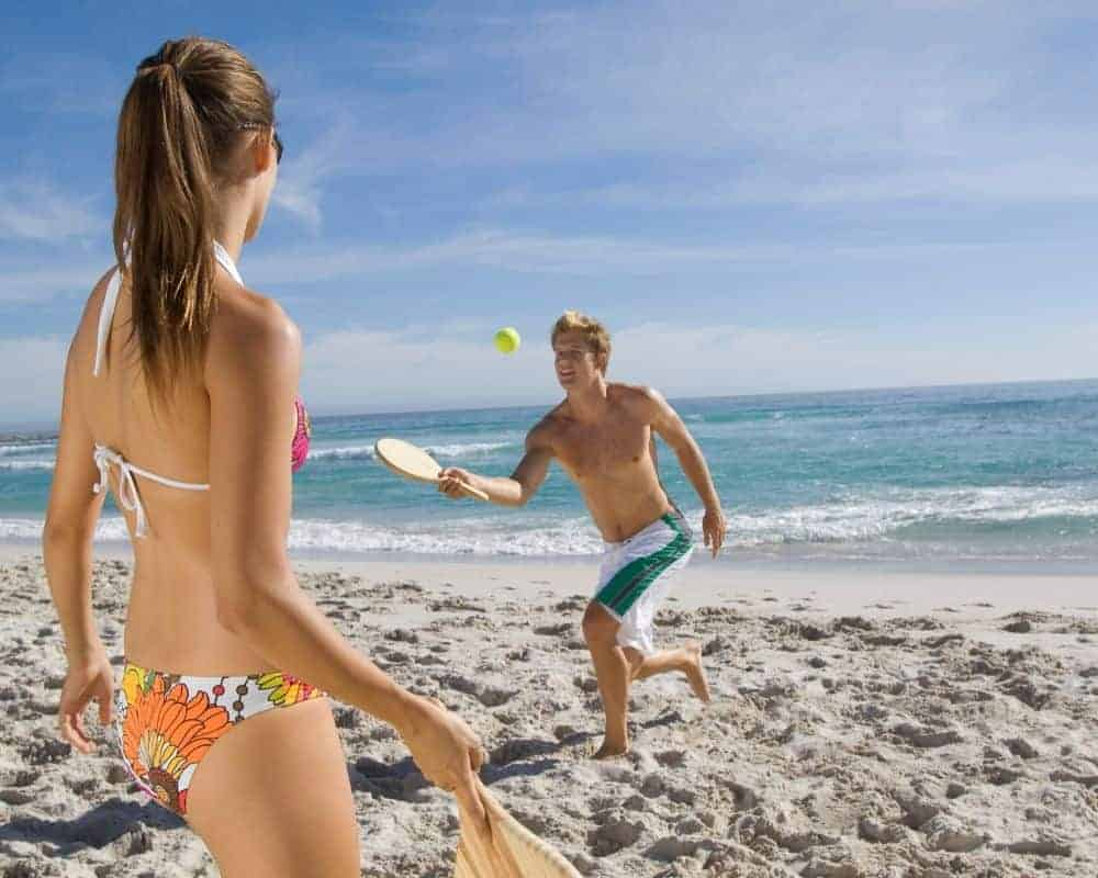 paddle ball at the beach