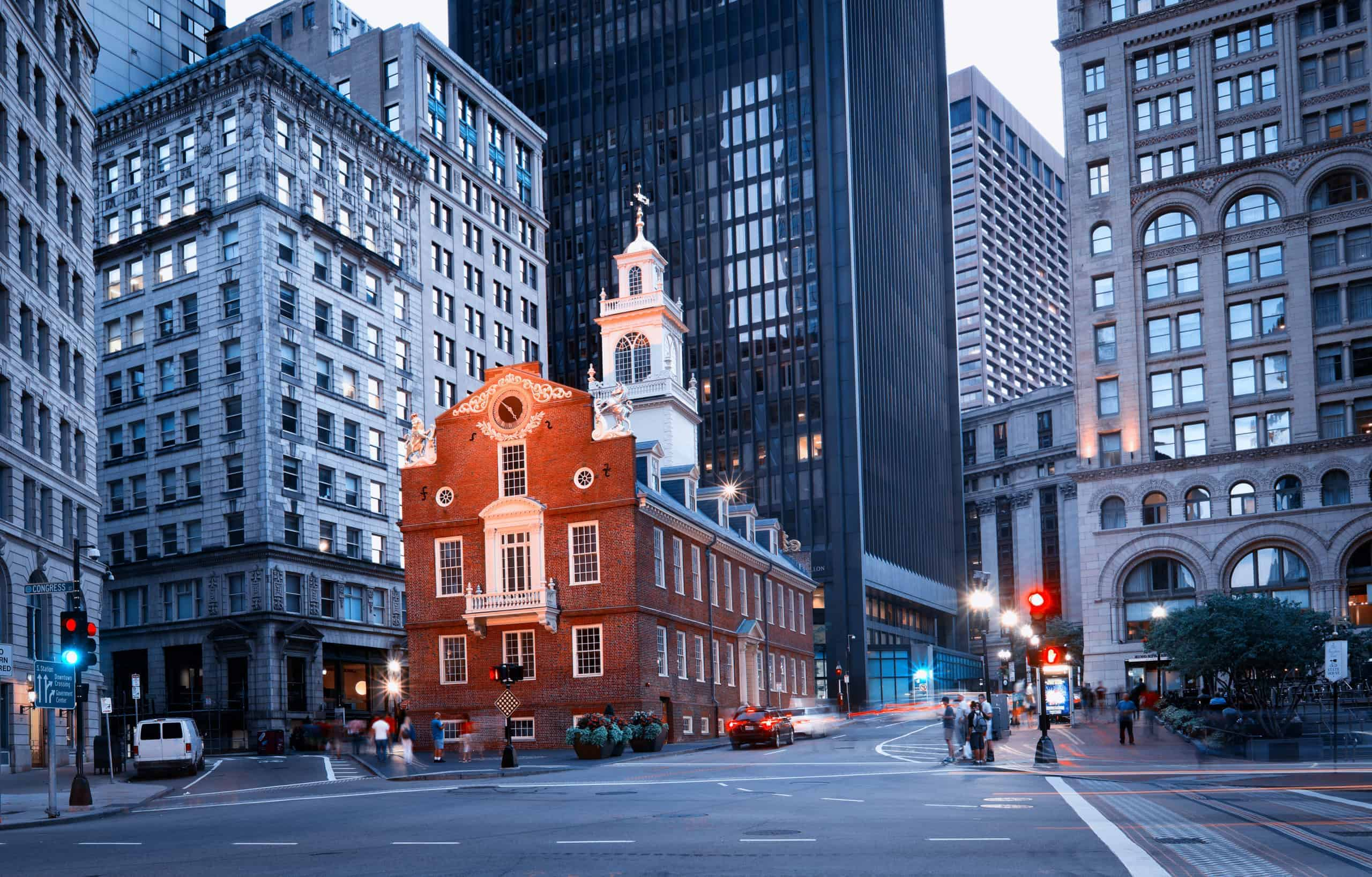 Old State House and the skyscrapers of the Financial District at night in Boston, Massachusetts, USA