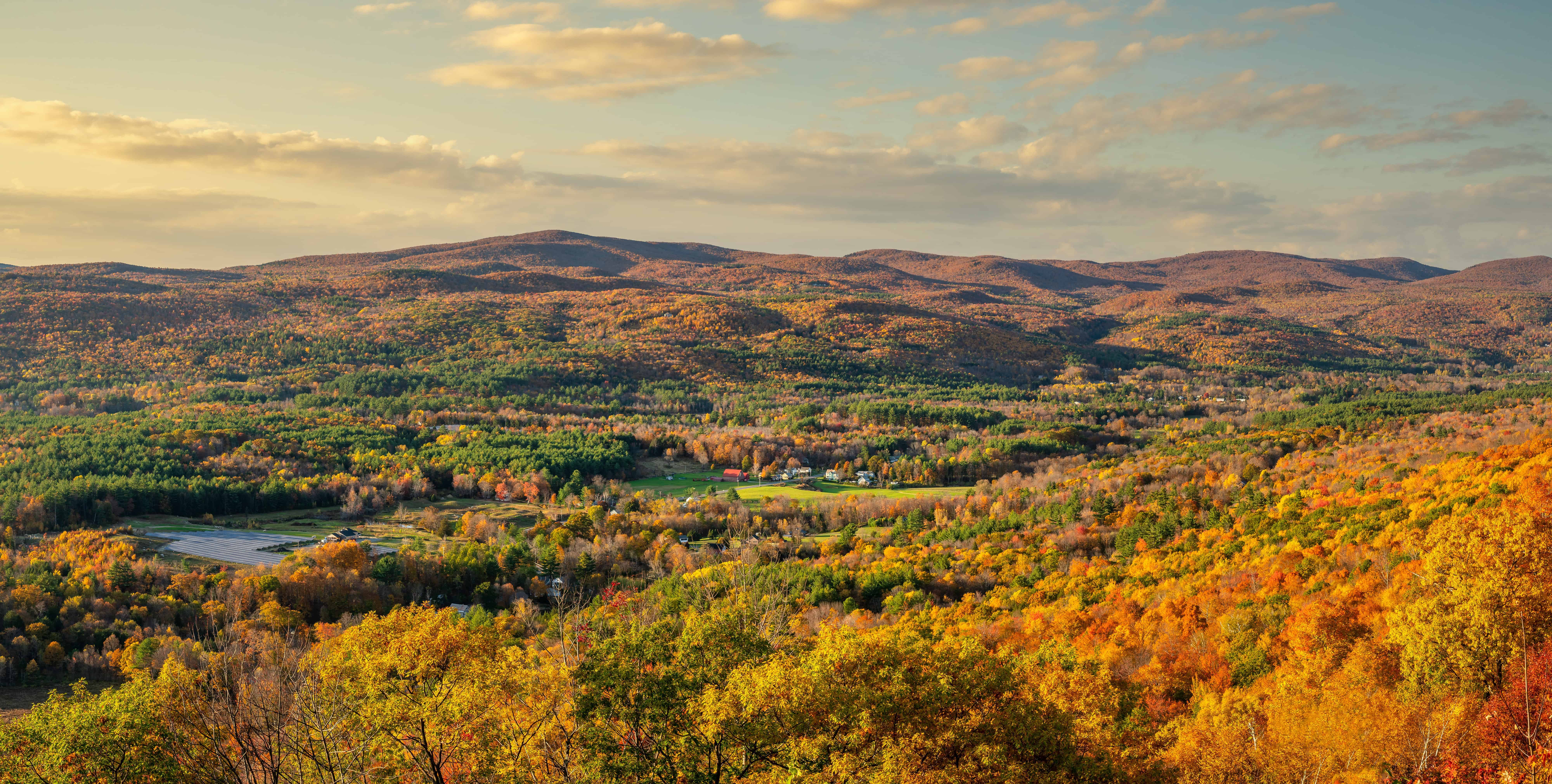Autumn view from Golden Eagle Restaurant hairpin overlook on the Mohawk Trail - Berkshire Massachusetts