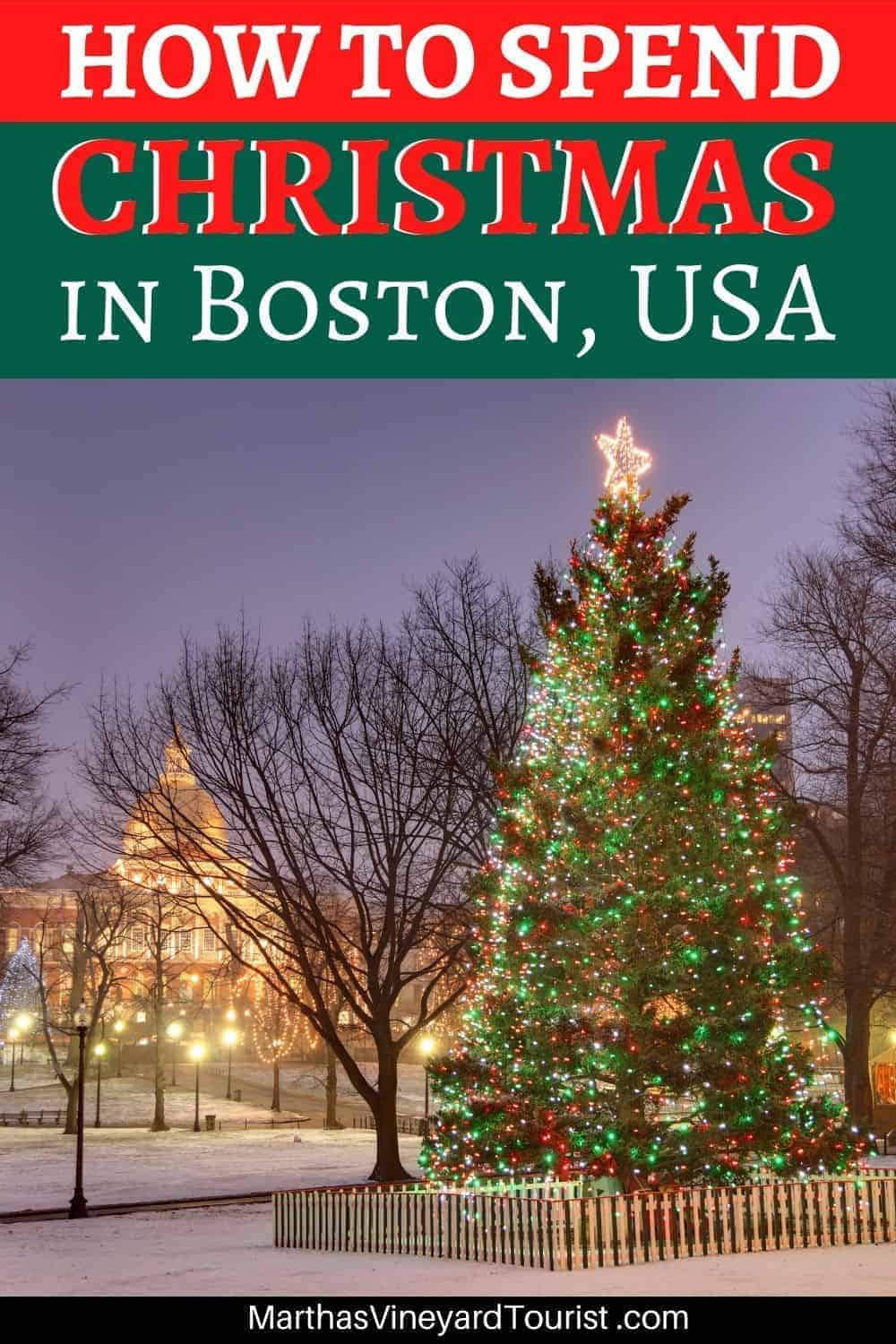 "A Pinterest image of the Christmas Tree on Boston Common at night with the text: ""How To Spend Christmas in Boston, USA"""