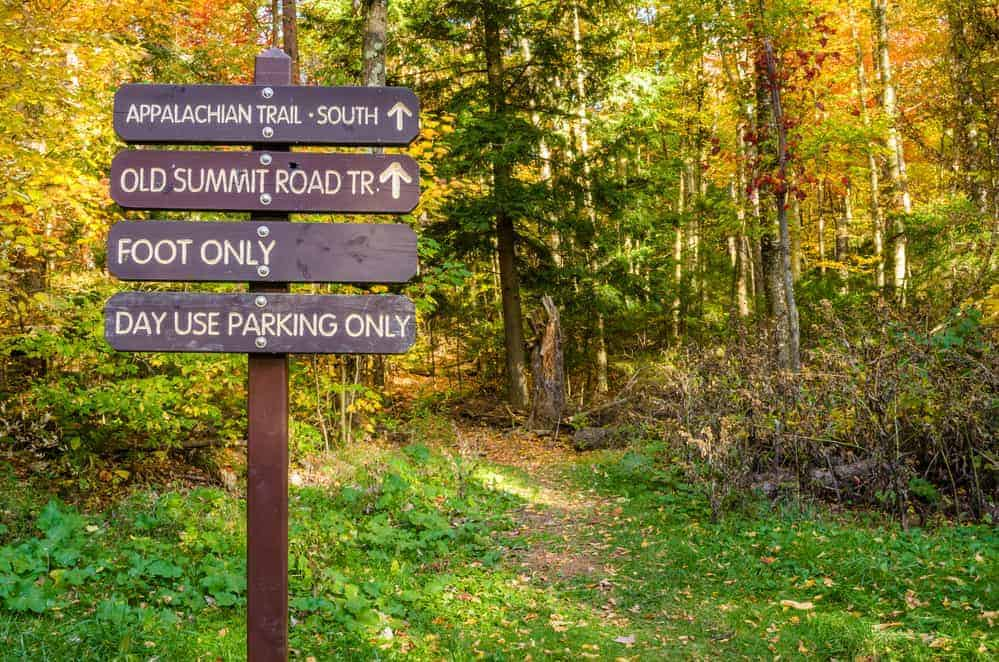 Directional and Information Signas at the Beginning of a Mountain Trail