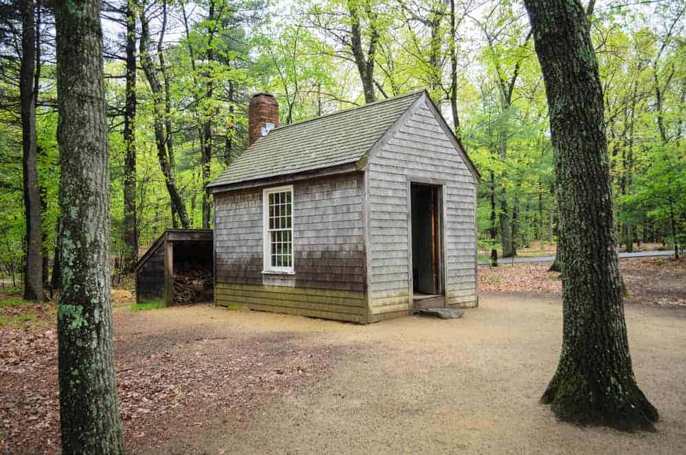 replica of Thoreau's cabin on Walden Pond