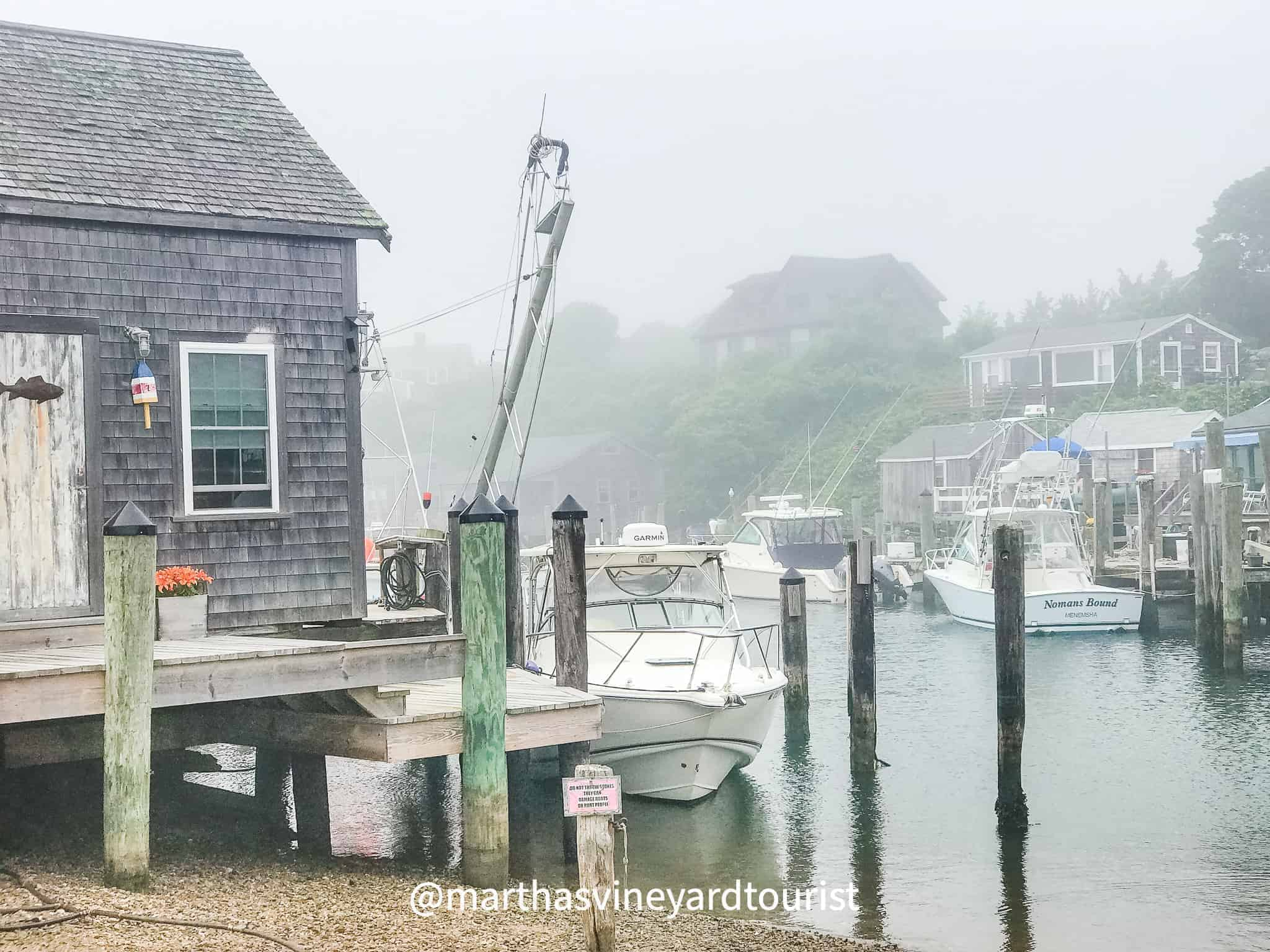 Menemsha village shrouded in mist