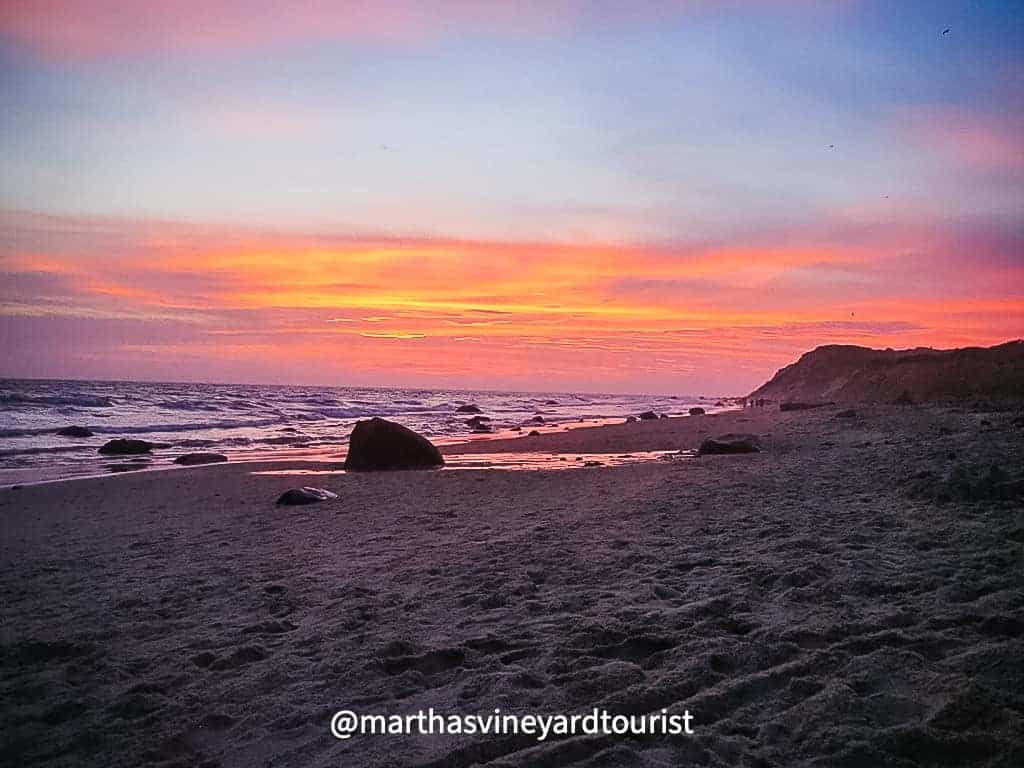 sunset on Moshup Beach in Aquinnah Martha's Vineyard