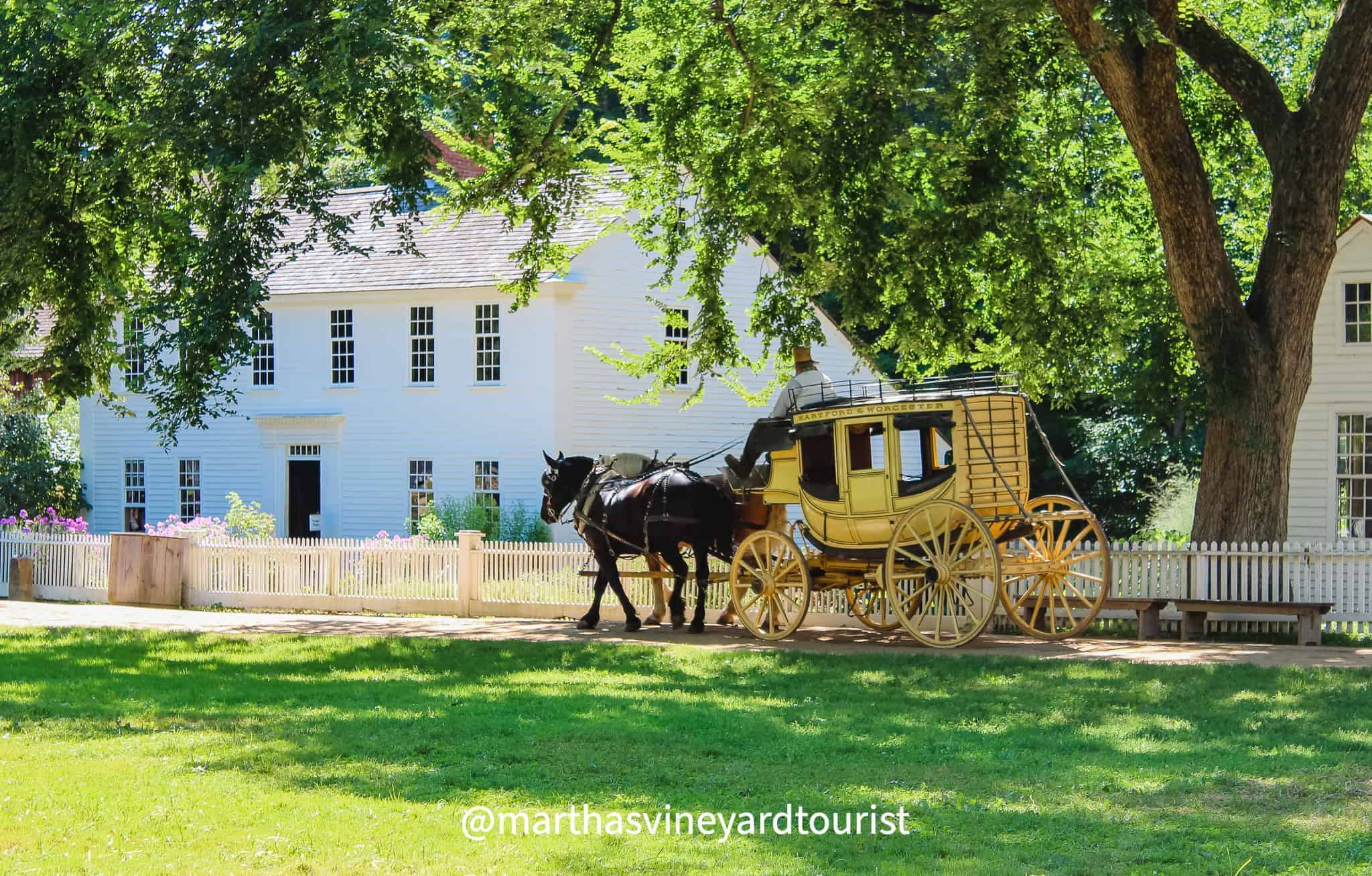 houses and carriage at Old Sturbridge Village in Massachusetts