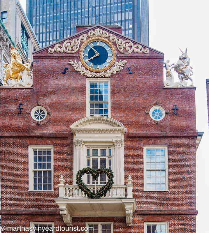 A Christmas Wreath on the Old State House in Boston