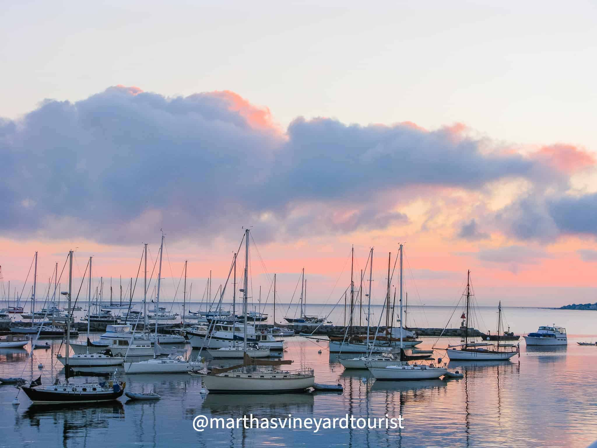 Vineyard Haven harbor on Martha's Vineyard at sunrise
