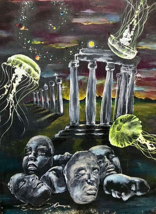 a painting from the Museum of Bad Art with Jellyfish, classical buildings and faces