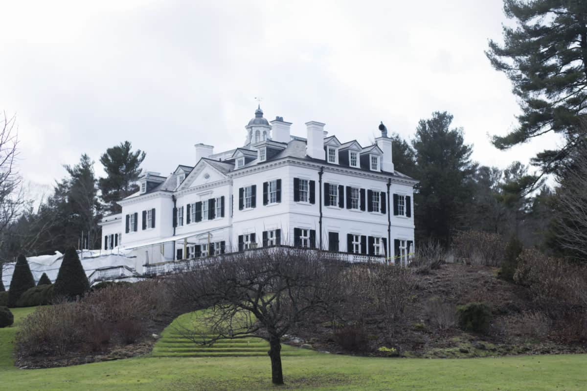 the gardens and back of the historic landmark The Mount located in Lenox Massachusetts