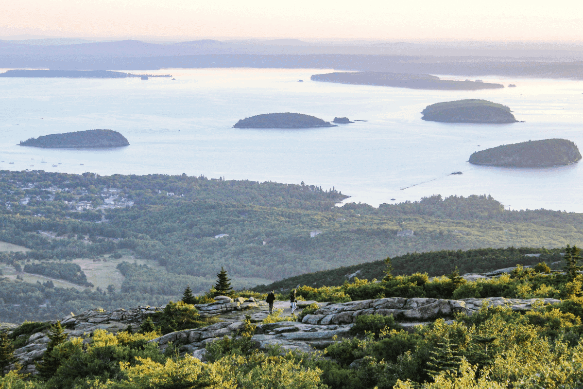 an aerial view of Acadia National Park
