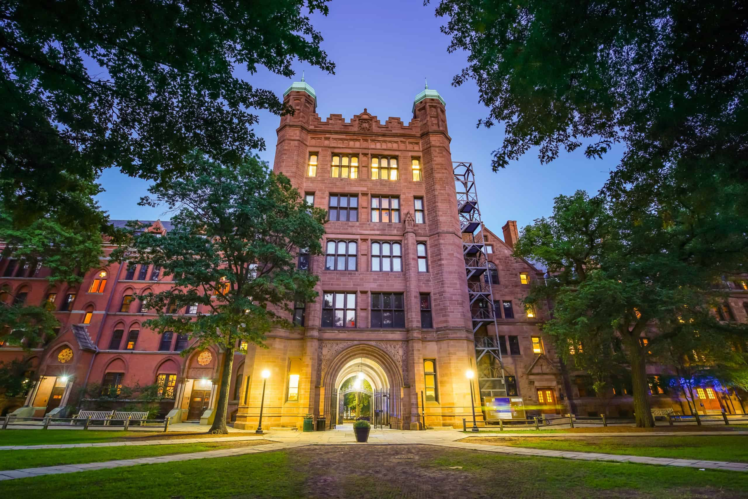 Historical building in downtown New Haven and Yale University, CT USA