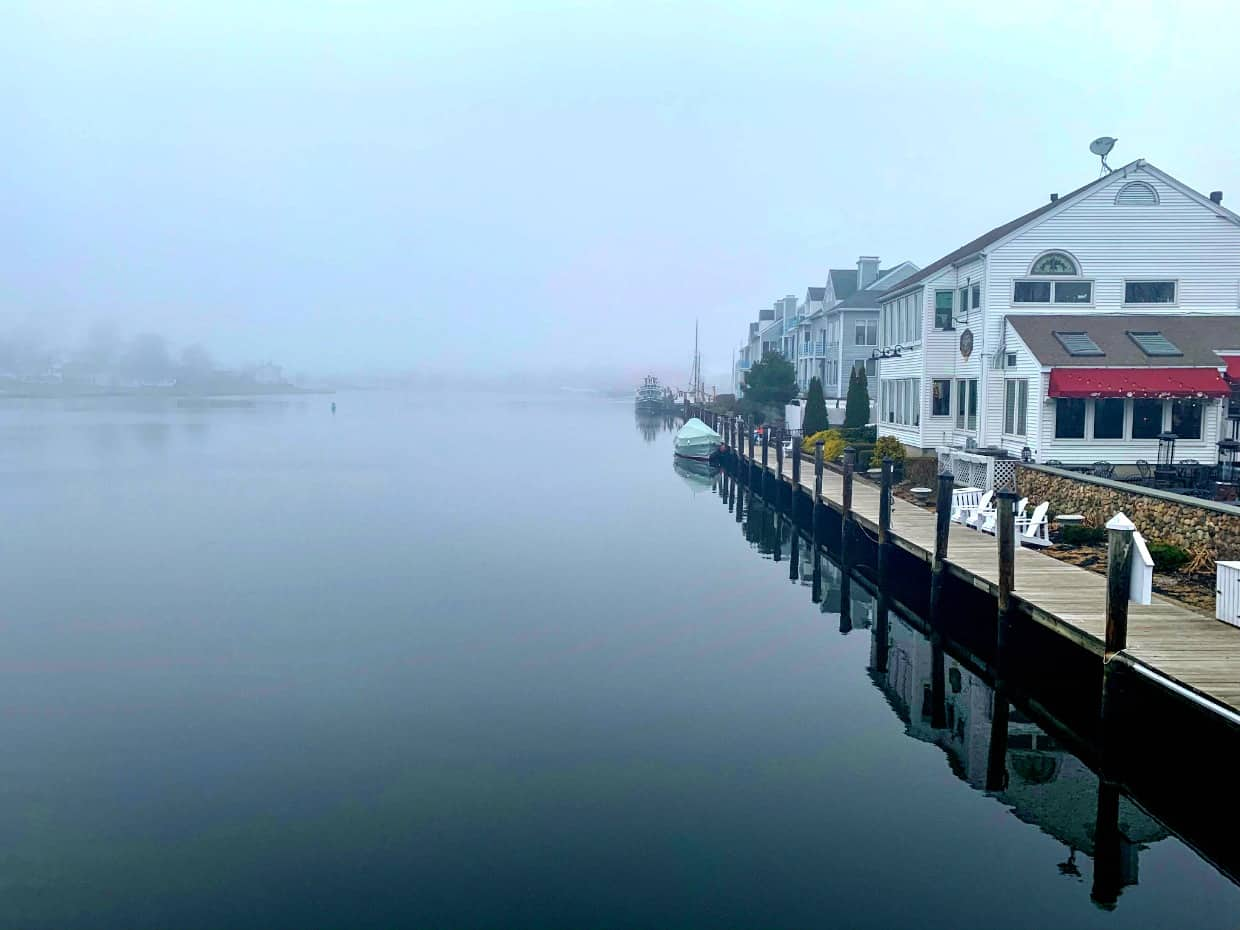 the mist rolling into Mystic Connecticut