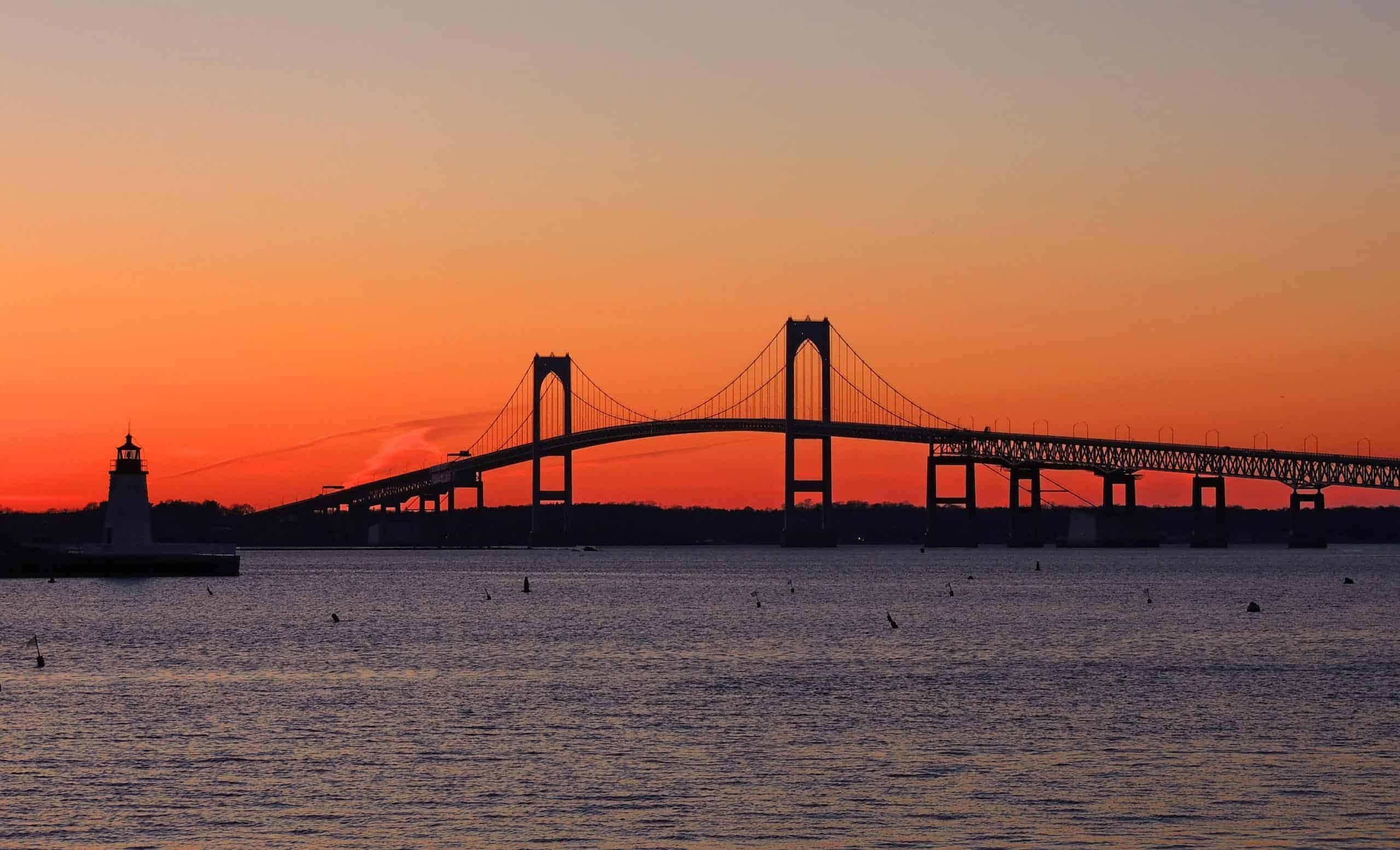 The bridge connecting Newport to the rest of Rhode Island at sunset