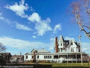but sky in Newport RI over a white mansion