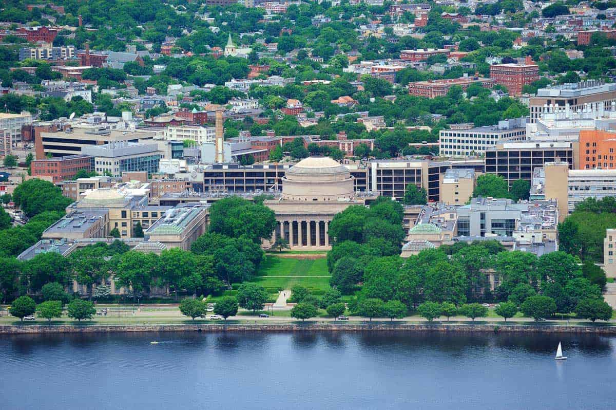 An aerial view of MIT campus and Cambridge and the Charles River
