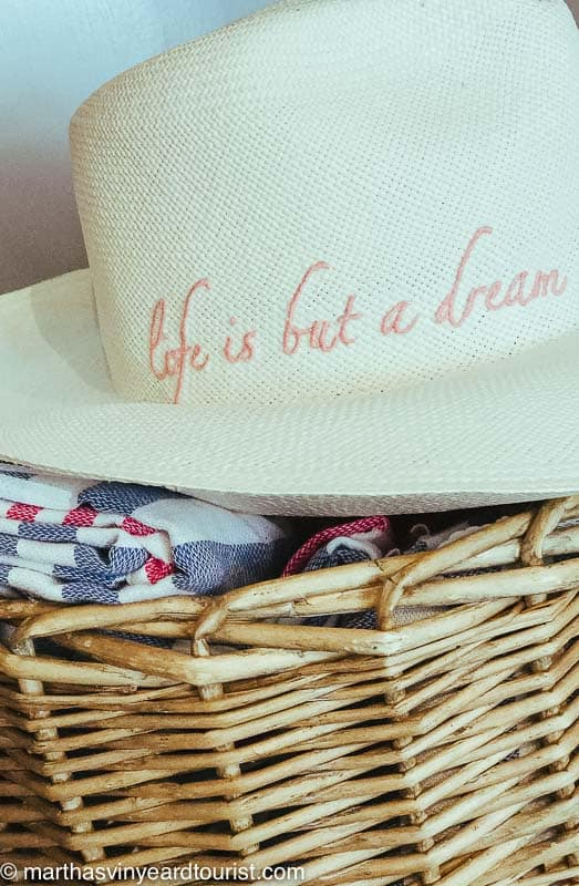 """sun hat embroidered with """"life is but a dream"""" in pink"""
