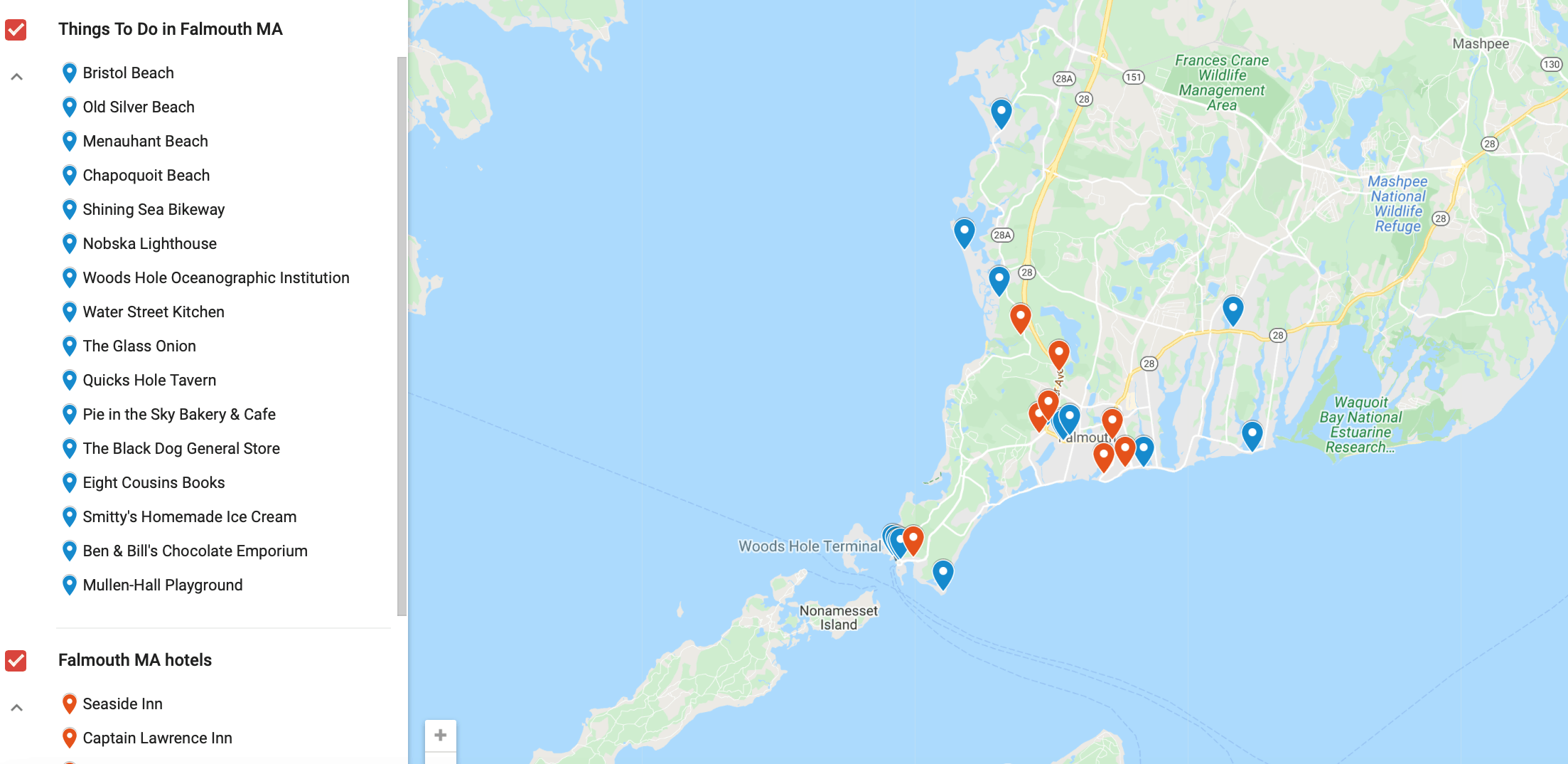 Map of Falmouth Cape Cod activities and hotels