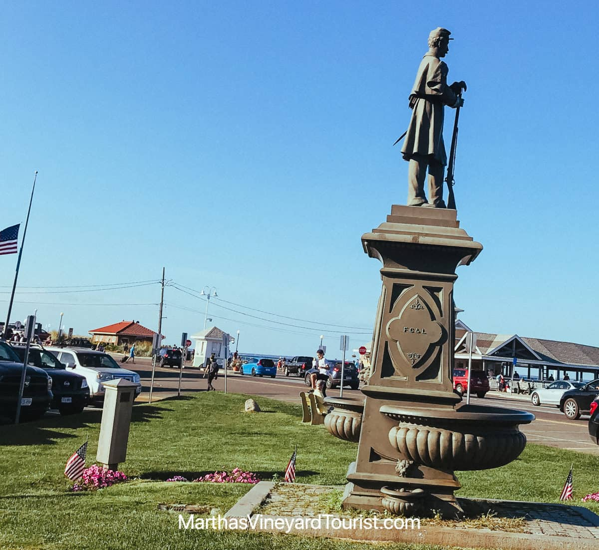 The statue to a Confederate Soldier in Oak Bluffs Harbor