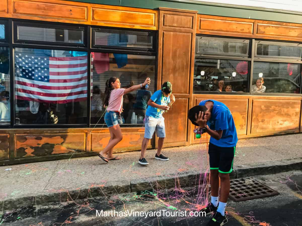 playing with silly string in Vineyard Haven