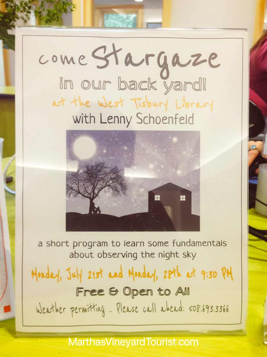 West Tisbury Library activity poster for stargazing