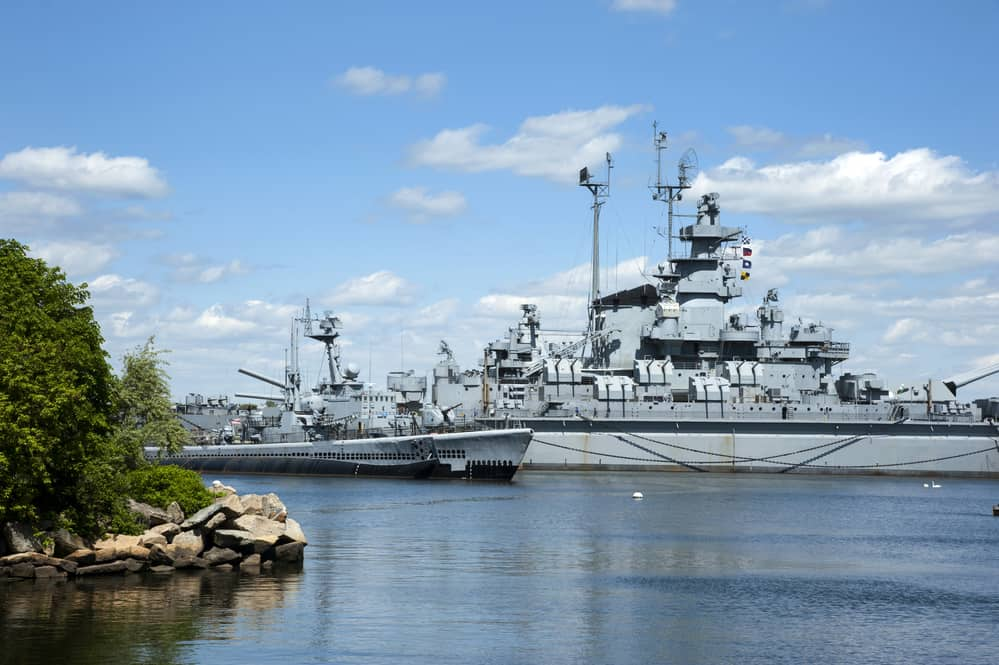 Battleship Cove is a favorite outdoor attraction for tourists to Fall River, in Massachusetts.