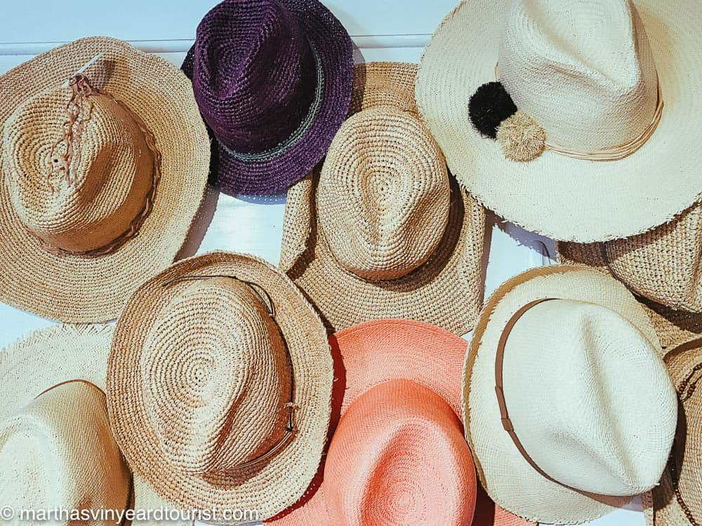 wide brimmed hats on a wall at a Martha's Vineyard store