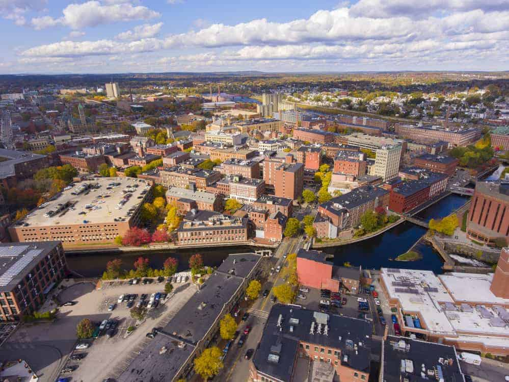 aerial view of Lowell canal and Merrimack river and factories