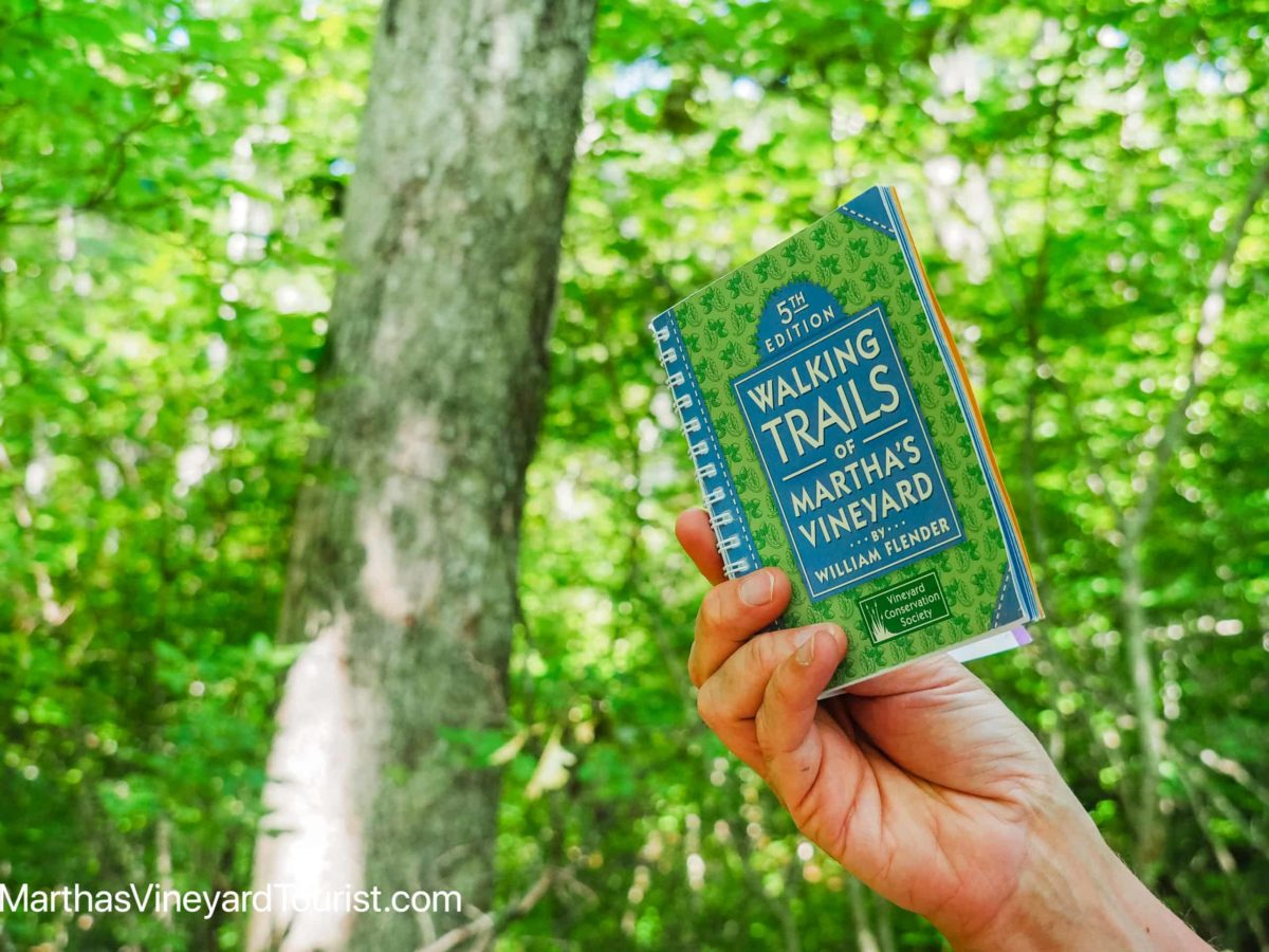 hand holding Martha's Vineyard trails book in a forest setting