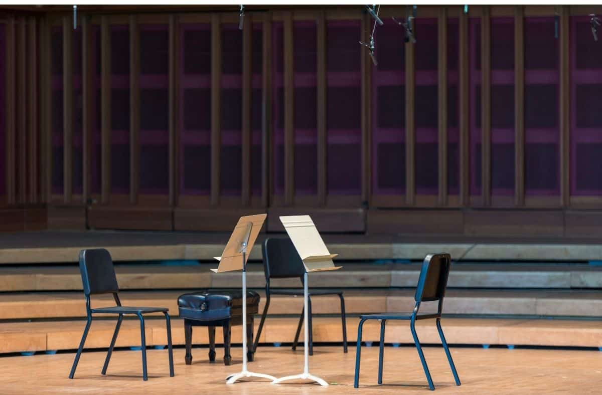 a stage set for a music performance at Tanglewood Lenox MA