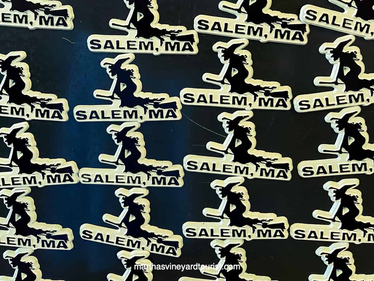 magnets of a witch with the words Salem MA on it